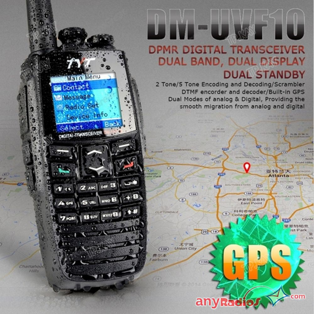 TYT DM-UVF10 GPS Digital Walkie Talkie DPMR Ham Transceiver DTMF Two Way Radio
