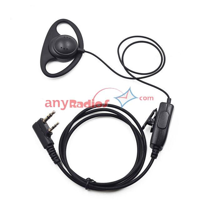 Acoustic Tube Earpiece w Clip for QUANSHENG TG-K4AT TG-UV2 TG-45AT TH-F8 TH-UVF9