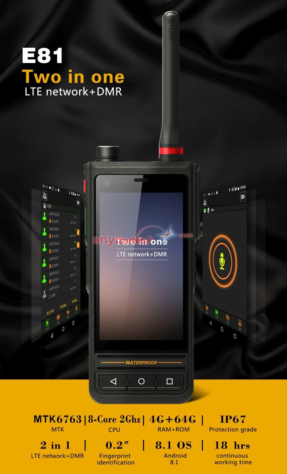 Runbo E81 4G LTE Ip67 Waterproof Rugged UHF VHF Police DMR Smartphone